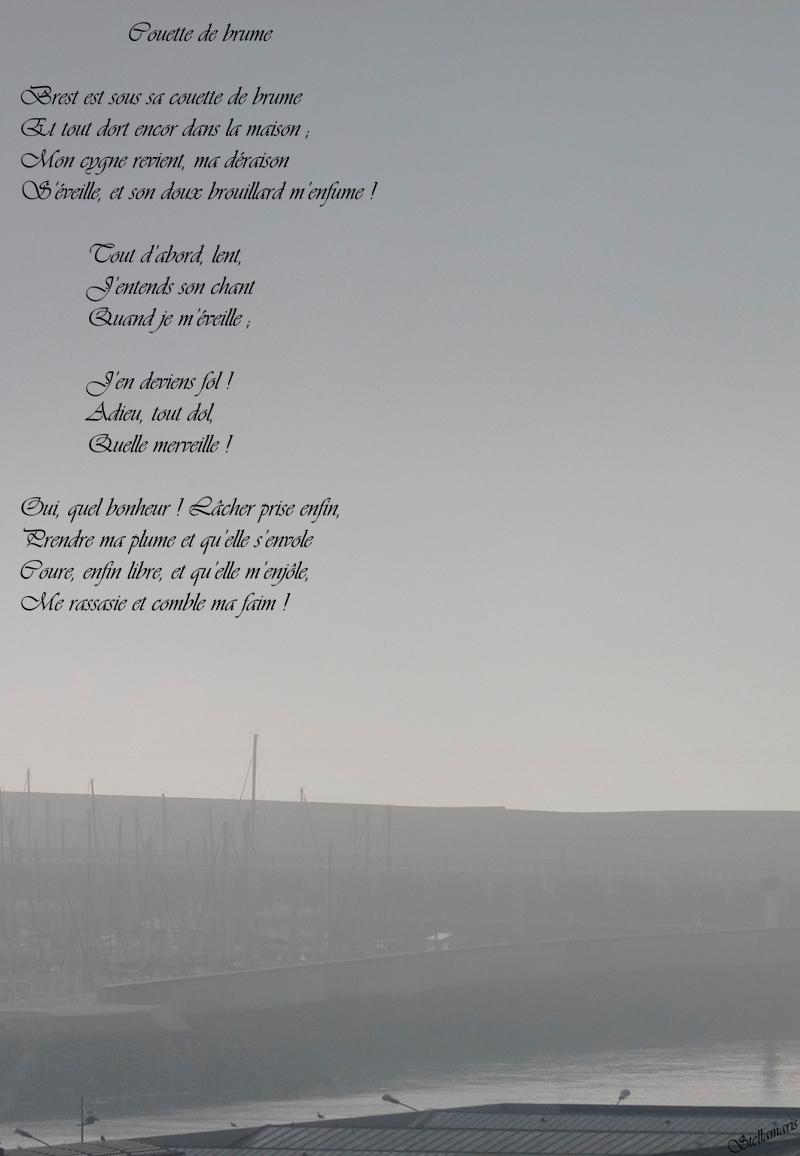 Couette de brume / / Brest est sous sa couette de brume / Et tout dort encor dans la maison ; / Mon cygne revient, ma déraison / S'éveille, et son doux brouillard m'enfume ! / / Tout d'abord, lent, / J'entends son chant / Quand je m'éveille ; / / J'en deviens fol ! / Adieu, tout dol, / Quelle merveille ! / / Oui, quel bonheur ! Lâcher prise enfin, / Prendre ma plume et qu'elle s'envole / Coure, enfin libre, et qu'elle m'enjôle, / Me rassasie et comble ma faim ! / / Stellamaris